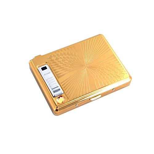 KAKAKA Hard Box Stainless Steel Cigarette Case & USB Rechargeable Lighter (Stainless Steel Cigarette Case)