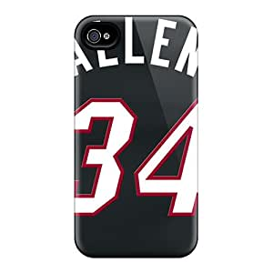 Perfect Hard Phone Cover For Iphone 4/4s With Support Your Personal Customized Trendy Miami Heat Pictures KennethKaczmarek
