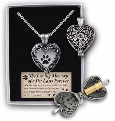 (In Loving Memory Paw Print Heart Locket W/Ash Holder On 24