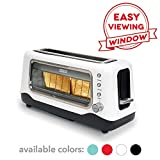 Dash DVTS501WH Clear View: Extra Wide Slot Toaster with Stainless Steel Accents + See Through Window, Defrost, Reheat + Auto Shut Off Feature For Bagels, Specialty Breads & Other Baked Goods, White
