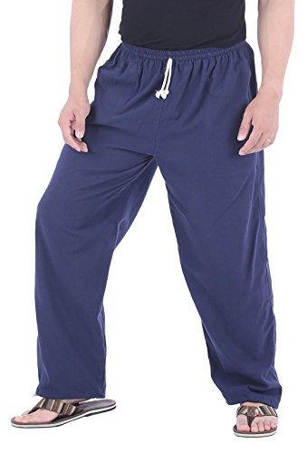 CandyHusky Men Casual Lounge Jogging Workout Yoga Pants Elastic Waist Drawstring (Medium/Large, Blue) ()