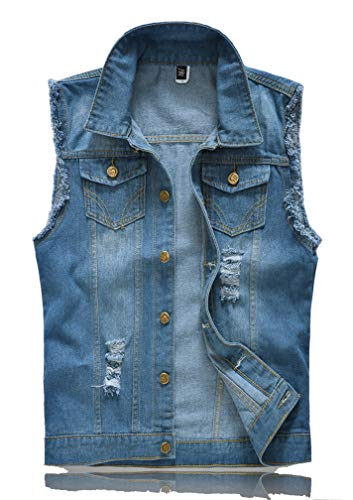 Lavnis Men's Sleeveless Denim Vest Casual Slim Fit Button Down Jeans Vests Jacket (L, Blue)