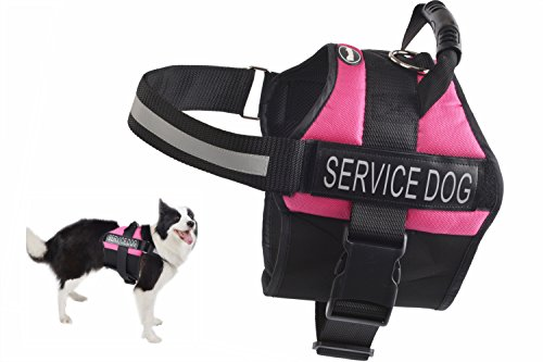 EXPAWLORER Anti Anxiety Stress Relief Service Dog Harness, Training Reflective Calming Adjustable Vest Harnesses Pink - 37