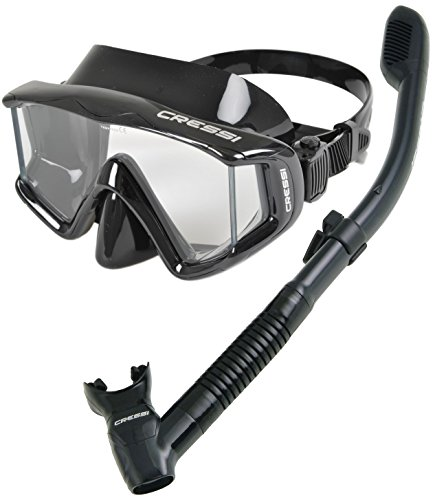 Cressi Panoramic Wide View Mask Dry Snorkel Set, All Black