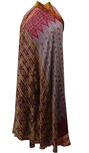 Indianbeautifulart Rversible Double Imprimer Pure Soie Femmes Wrap Hippie Maxi Gris & Rose Brown