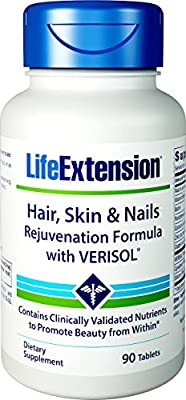 Life Extension Hair/Skin and Nail Rejuvenation Formula with Verisol, 90 Count