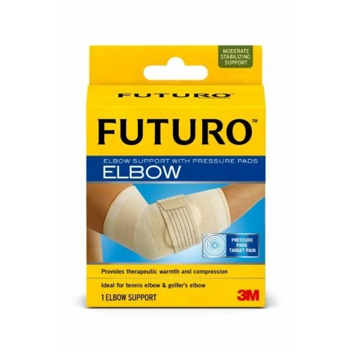 Image of 3M Health Care 47862EN Elbow Support with Pressure Pads, Medium, Beige (Pack of 12) Elbow Braces