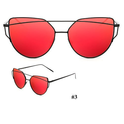Women's Glasses Metal Flat Lens Vintage Fashion Mirrored Oversized Sunglasses (Black&Red) -