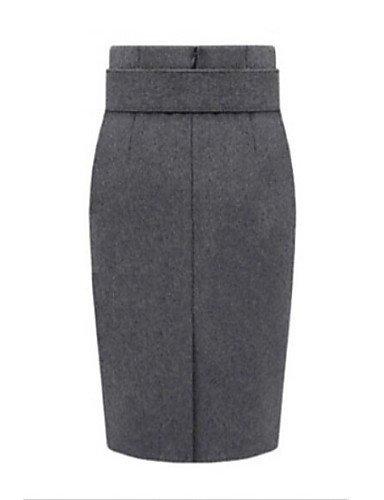 Mujer Tallas Grandes Faldas,Corte Bodycon Un Color Separado Tiro Alto Hasta la Rodilla Poliéster Micro-elástica Otoño , xl