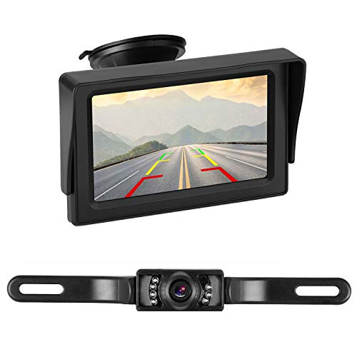 iStrong Backup Camera System 4.3'' Monitor for Truck/Car/Pickup/Camper/SUV Mount Windshield Optional IP68 Waterproof Connecting Single Power Reversing/Driving Use Night Vision