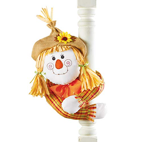 Collections Etc. Cute Harvest Scarecrow Decoration, Posable Scarecrow with Straw Hat and Hugger Arms, Girl ()
