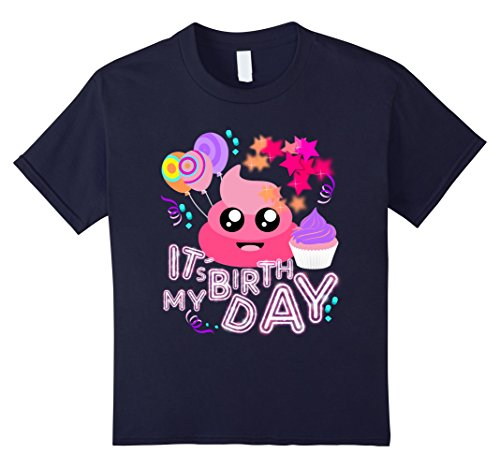 Kids Pink Poop Emoji Smiley Face Birthday Party Shirt for Girls 12 Navy (Halloween Birthday Party Ideas Toddler)