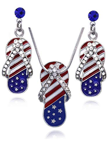 cocojewelry 4th of July American Flag Flip Flop Sandal Earrings Necklace Set (Style A Royal Blue Dot)
