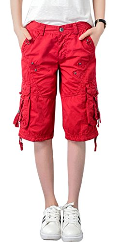 chouyatou Women's Casual Multi-Pockets Sports-Wear Knee Length Cargo Shorts (Small, Red)