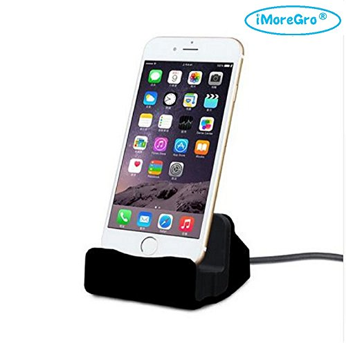 ,iMoreGro iPhone Desk Charger,Charge and Sync Stand for iPhone 7/7Plus iPhone 6/6Plus/6s iPhone 5/5Plus/5s ipad, iPhone docking Station (Black) (Wireless Docking Station)