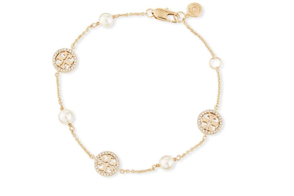 Tory Burch Women's Delicate Crystal Logo and Imitation Pearl Bracelet Chain