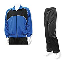 Men\'s casual warm up jacket/pant set - size Adult L - color Royal Jacket/Black Pants