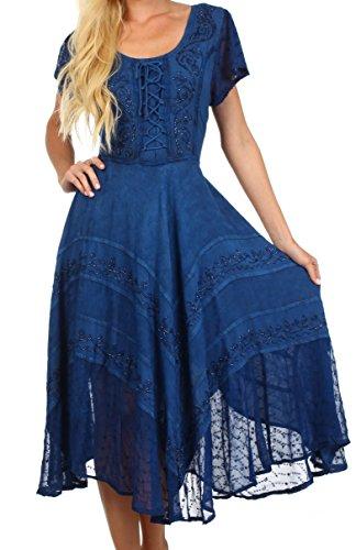 Sakkas 1322 - Sakkas Marigold Embroidered Fairy Dress - Navy - 1X/2X (Plus Size Fairy Dress)