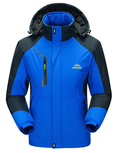 WenVen Mens Waterproof Windproof Moutain Ski Jacket Fleece Outdoorwear(Sapphire Blue,M)