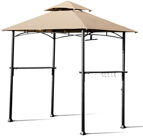 Tangkula 8 x 5 Grill Gazebo, Outdoor Patio Barbecue Gazebo Shelter with LED Lights, 2-Tier Canopy Top Cover Grill Gazebo with Sturdy Steel Frame, Ideal for Gatherings, Parties Khaki