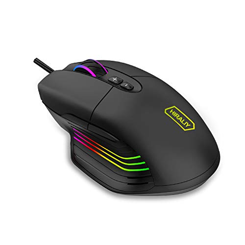 HIRALIY Gaming Mouse Wired, 7 Programmable Buttons, 7200 DPI Adjustable, 12 Backlight Modes with 16.8 Million  Chroma RGB Backlit Ergonomic Optical USB Computer Desktop Laptop PC Game Mice (Black)