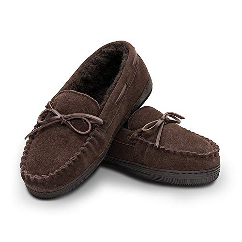 Women's Genuine Suede Leather Faux Fur Lined Moccasin Slippers Shoes, Classic Flat Moccasins for Women (Suede Genuine Leather Ladies)