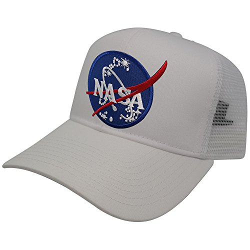 - AC Racing NASA Insignia Logo Embroidered Iron On Patch Snapback Trucker Mesh Cap (One Size, White)
