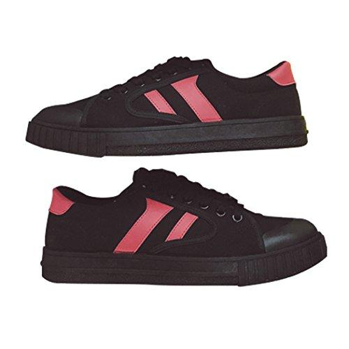 Soleil Lorence Mens Mode Décontractée Légère Lacets Low-top Toile Sneaker Tennis Chaussures Noir