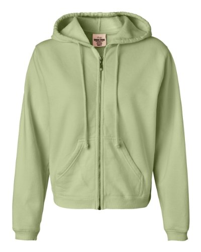 Comfort Colors - Ladies' Pigment-Dyed Full-Zip Hooded Sweatshirt - 1598 - Celadon - Medium (Dyed Full Pigment Cotton Zip)