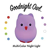 Goodnight Owl Night Light for Kids & Toddlers - Multi-color LEDs (9 colors!), BPA-free silicone, rechargeable battery, 5 levels of brightness, auto-off timer + remote control. Super Cute and Fun!