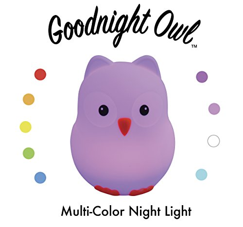 Light Night Stuffed Animal (Goodnight Owl Night Light for Kids & Toddlers - Multi-color LEDs (9 colors!), BPA-free silicone, rechargeable battery, 5 levels of brightness, auto-off timer + remote control. Super Cute and Fun!)