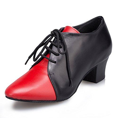 Pratique En Daim Bout Fermé Unique Tango Salsa Latine Femmes Misu Salle De Bal Chaussures De Danse Avec 1,8 Talon Noir Et Rouge