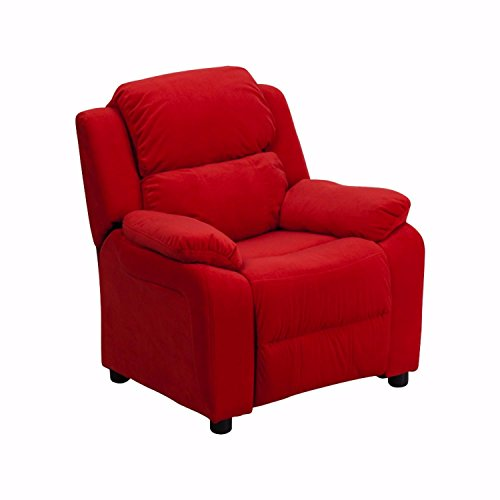 Offex OF-BT-7985-KID-MIC-RED-GG Deluxe Heavily Padded Contemporary Microfiber Kids Recliner with Storage Arms, Red