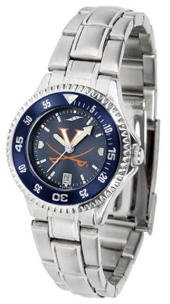 SunTime Virginia Cavaliers Competitor AnoChrome Ladies Watch with Steel Band and Colored Bezel