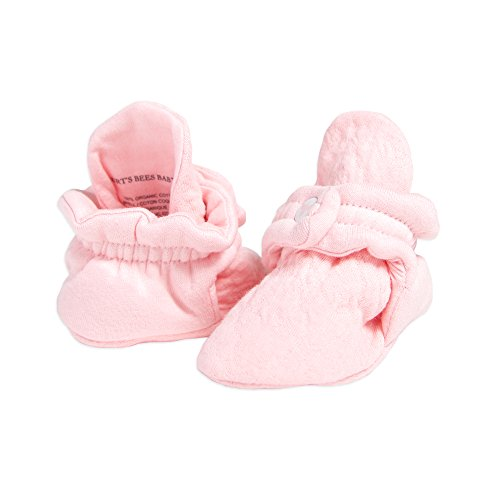 Burt's Bees Baby Unisex Baby, Boys Girls Quilted Booties, 100% Organic Cotton, Blossom, 0-3 Months (Slipper Booties For Girls)