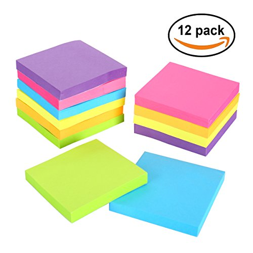 ERBAO Sticky Notes, 3 in x 3 in, 12 Pads/Pack,100 Sheets/Pad, 6 Bright Colors Self-Stick Notes for Home,Office, School, Easy Post. 100 Sheet Pads