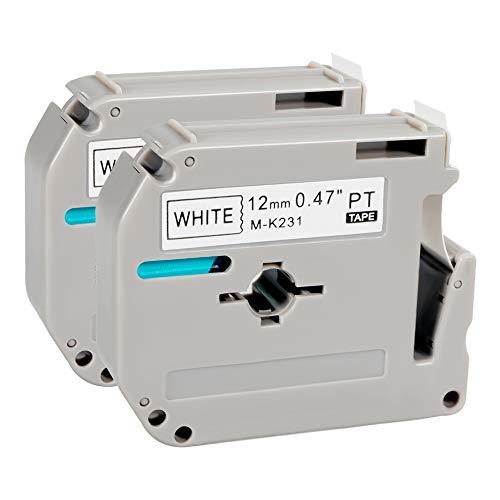 MK231 M231 M-K231 MK-231 PTOUCH M Tape Black on White Label Tape Compatible for Brother P-Touch Label Maker PT-M95 PT-90 PT-70BM PT-65 PT-85 0.47 Inch (12mm) x 26.2 Feet (8m) 2-Pack