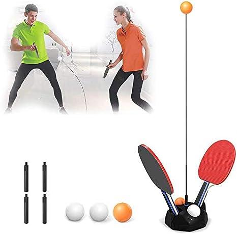 Mesa de Ping Pong portátil Conjunto, Mesa de Ping Pong Entrenador con 2 Raquetas y 6 Bolas de la Aptitud para la formación Personalizada/descompresión/Ocio/Juguetes para niños,110cm