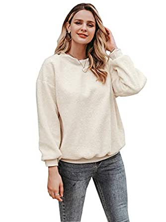 Zandiceno Women's Oversized Cute Fuzzy Fleece Hoodies Sweater Casual Warm Crewneck Sweatshirts Tops - White - 4/6
