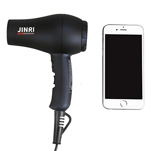 Jinri 1000W Mini Compact Travel Hair Dryer High&Low Setting Cool Wind DC Motor with Concentrator Nozzle Blow Dryer(Black+Blue)