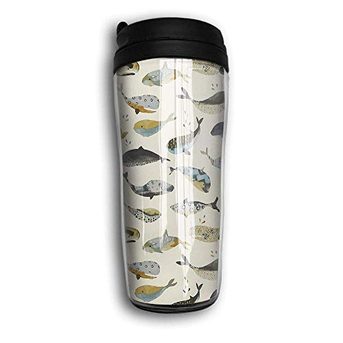 AUUOCC Whale Antique Design Travel Mug Coffee Thermos Stainless Steel Flask Water Bottle