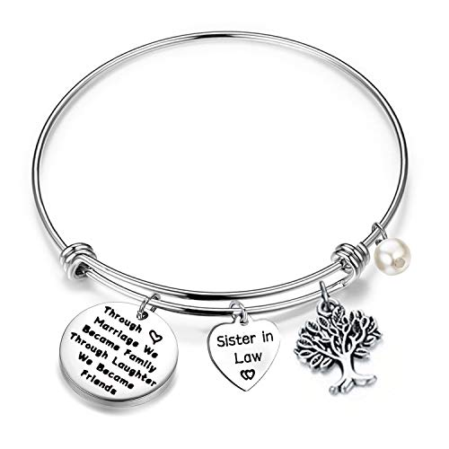 QIIER Sister in Law Bracelet Through Marriage We Became Family Quote Bangle Bracelet Gift for Sister in Law (Silver) (Best Birthday Gift For Sister In Law)