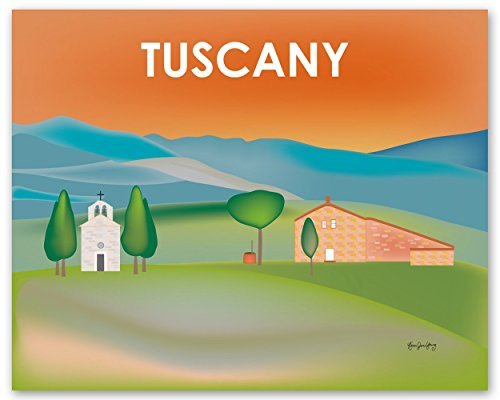 Tuscany, Italy Print - Retro Inspired Travel Wall Art for Home and Office - art sizes: 8 x 10, 11 x 14, 16 x 20, 24 x 30, 36 x 45 -