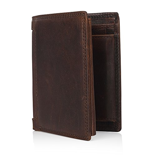 Secret Felicity Men's Trifold Genuine Leather Handmade Wallet Card Holder(SF0402)