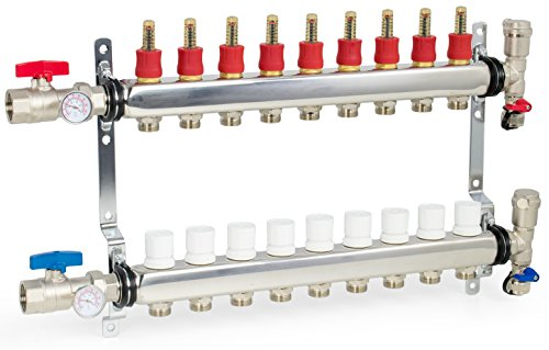 "VIVO 9 Loop 1/2"" Pex Manifold Stainless Steel Radiant Floor Heating Set 