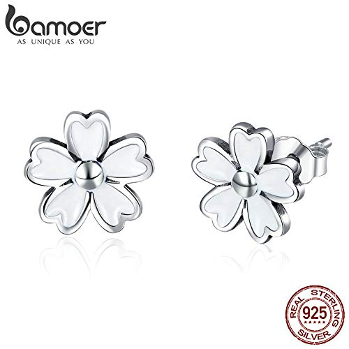 New Collection 925 Sterling Silver White Enamel Daisy Flower Stud Earrings for Women 2018 Earrings Silver Jewelry SCE418