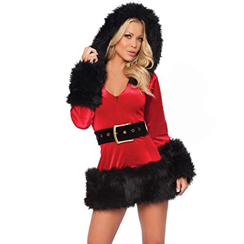 (Women Sexy Mrs Santa Claus Cosplay Costume Christmas Party Fancy Dress Hooded)