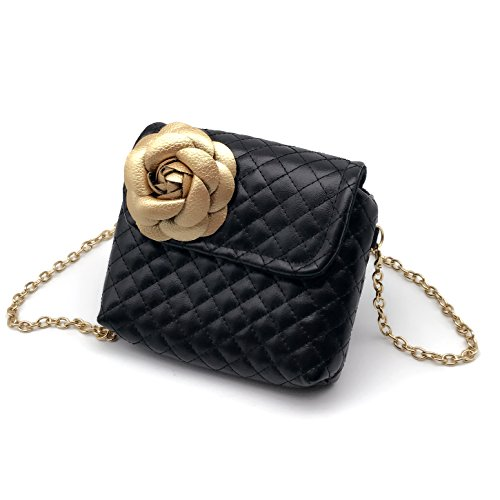 (Elesa Miracle Kids Girl Quilted Leather Crossbody Handbag Purse, Chain Bag Little Girl Metal Chain Strap Bag (Black with Gold)