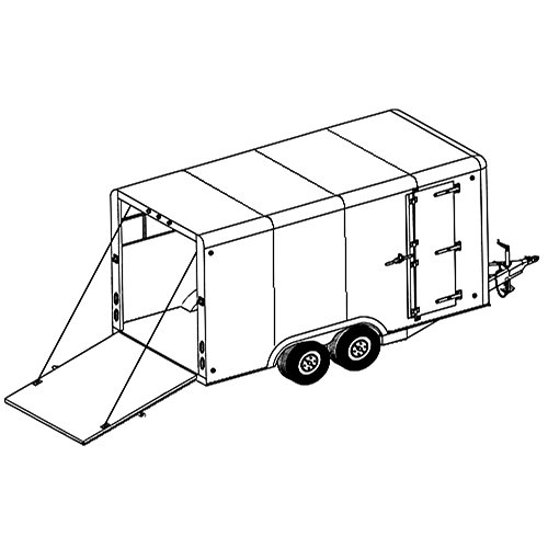 Covered Cargo Trailer Plans Blueprints (8' x 16' - Model 16CC)