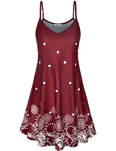 SeSe Code Floral Spaghetti Strap Dress, Ladies Flower Cami Dresses Sleeveless Fluid Drapes Flared Hemline Jersey Knit Fabric Lightweight Summer Tropical Vacation A Line Sundress Wine Red Medium